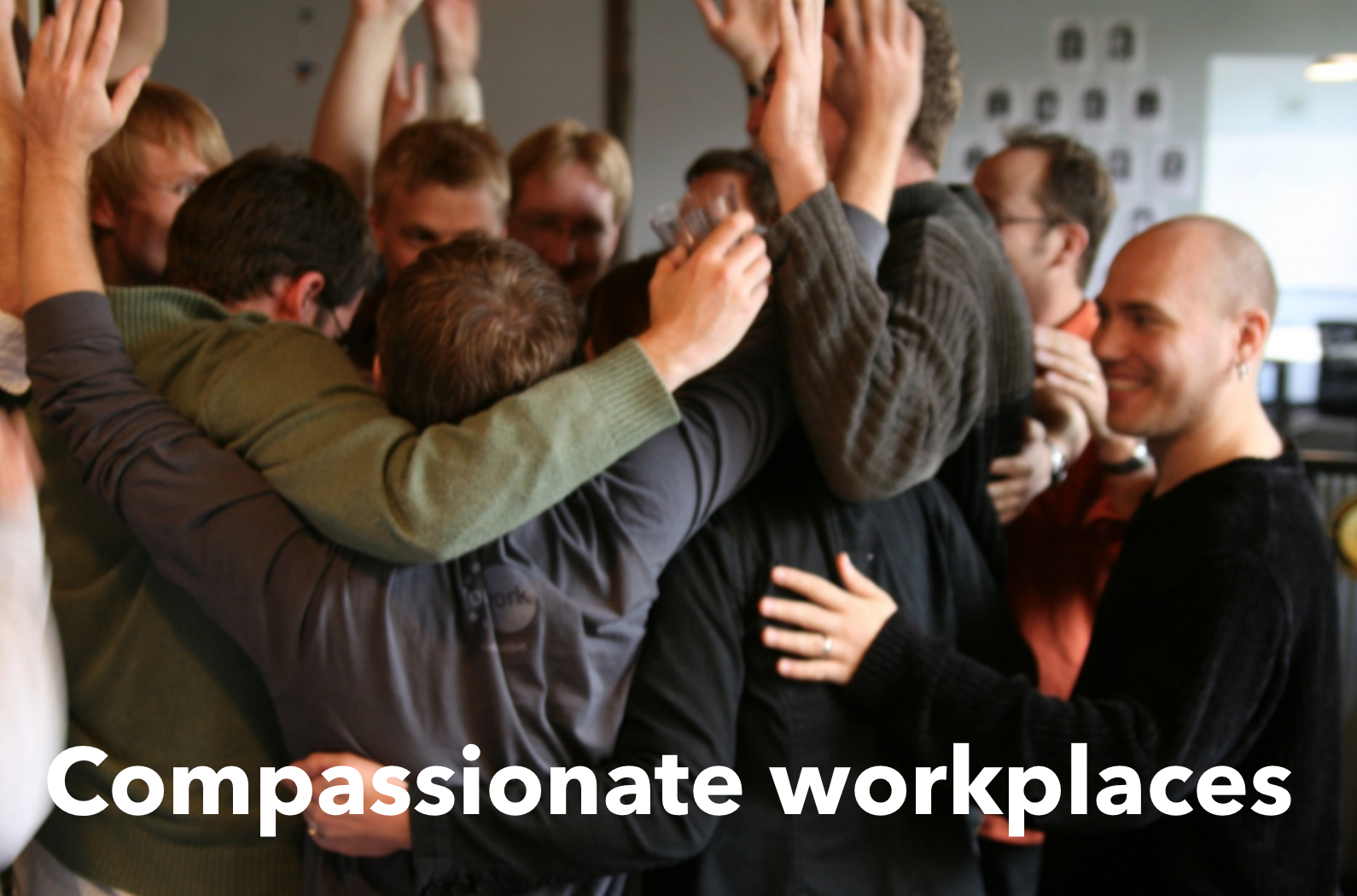 Teamwork compassionate workplace hug